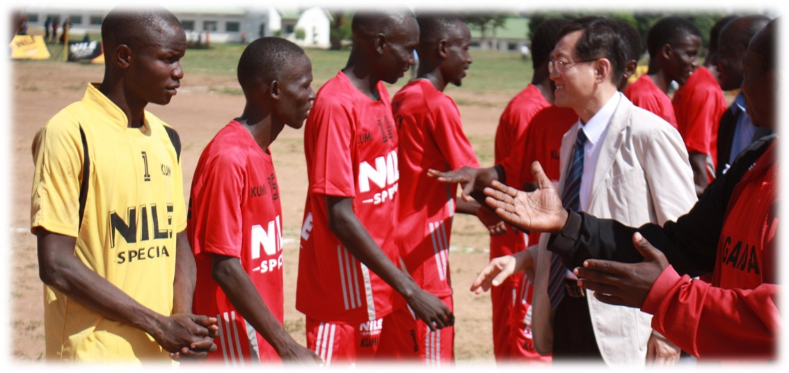 Prof. Young Gil Lee KUMU VC Shakes hands with the players as he flags off Second half